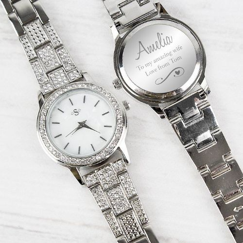 Swirls & Hearts Diamante Ladies Watch